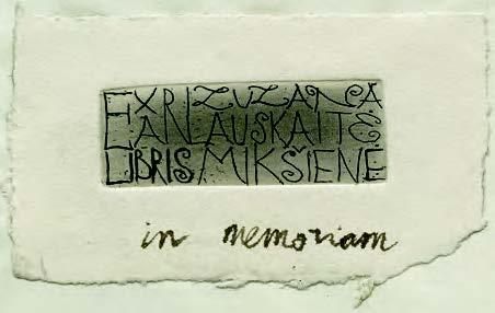 Künstlerisch gestaltetes Exlibris von Žimbutas Mikšys (aus den in der Forschungsbibliothek aufbewahrten Buchbeständen des Litauen-Archiv-Reklaitis (LAR))