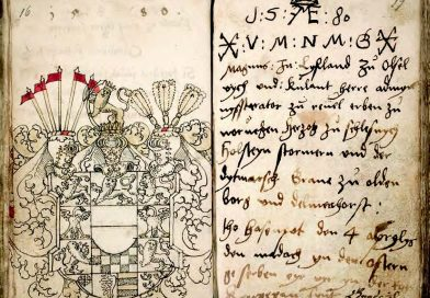 """Zeichnung des Wappens des """"Livländischen Königs"""" (DSHI 190 Kurland VI, 3, Osten-Sacken, Abb. m. frdl. Genehmigung des Eigentümers)"""