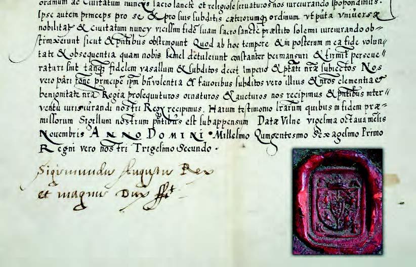 Die Pacta Subiectionis, Wilna, 28. November 1561: Das Ende des Urkundentextes mit der Unterschrift von König Sigismund August und mit seinem Siegel, Dokumentesammlung (DSHI 190 Kurland V,4,1)