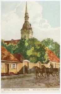 Reformationskirche Mitau, Postkarte vor 1945, Inv.-Nr. 191100