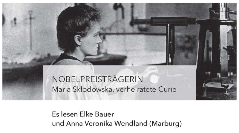Plakat zur Lesung über Marie Curie