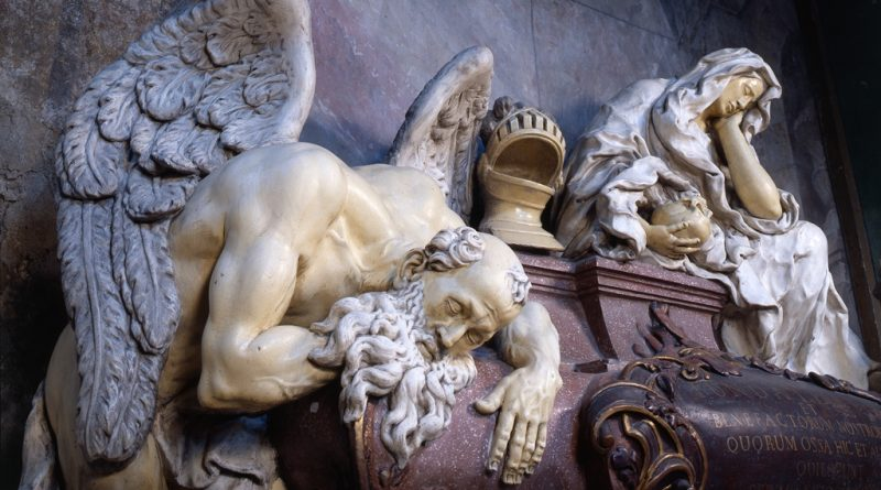 Schlafender Chronos am Grabmal der Familie Hrabišic in der Klosterkirche Mariä Himmelfahrt in Ossegg/Osek (Tschechien)