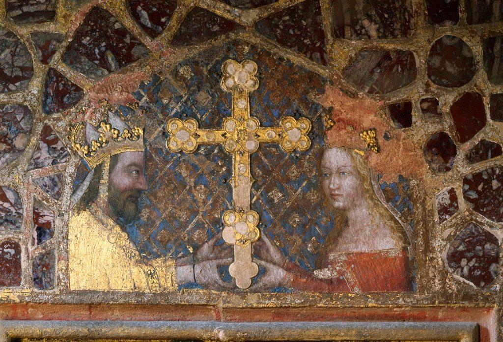 """Wandgemälde """"Karl IV. und Anna von Schweidnitz verehren das böhmische Reliquienkreuz"""", Schloss Karlstein/Hrad Karlštejn (Tschechien)"""