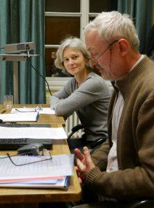 Gudrun Wirtz und Hermann Beyer-Thoma beim Wokshop zu Forschungsdaten