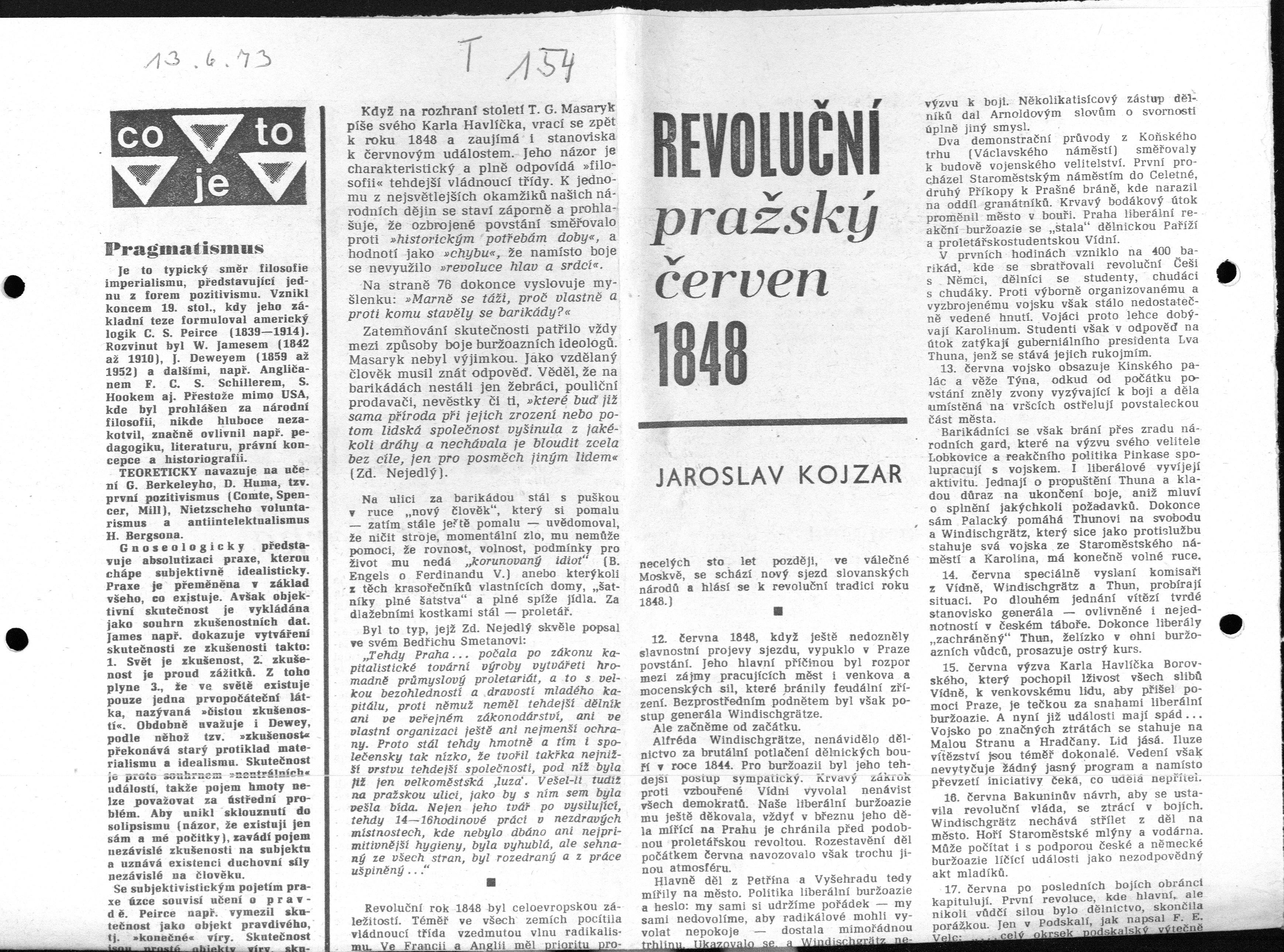 Zeitungsartikel: Revolution 1848 von Jaroslav Kojzar