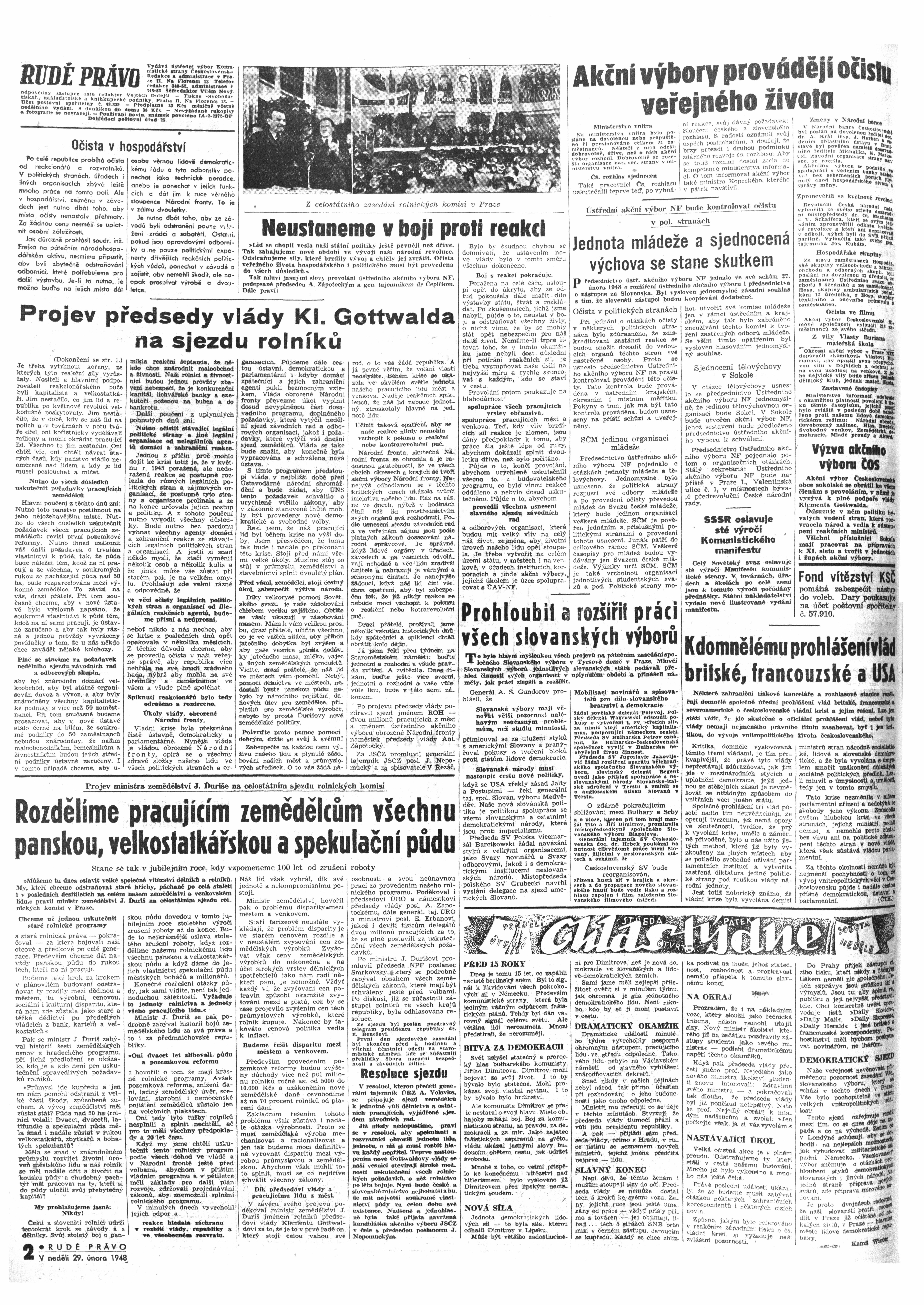 Rudé Právo 1948, 29. Februar, Seite 2