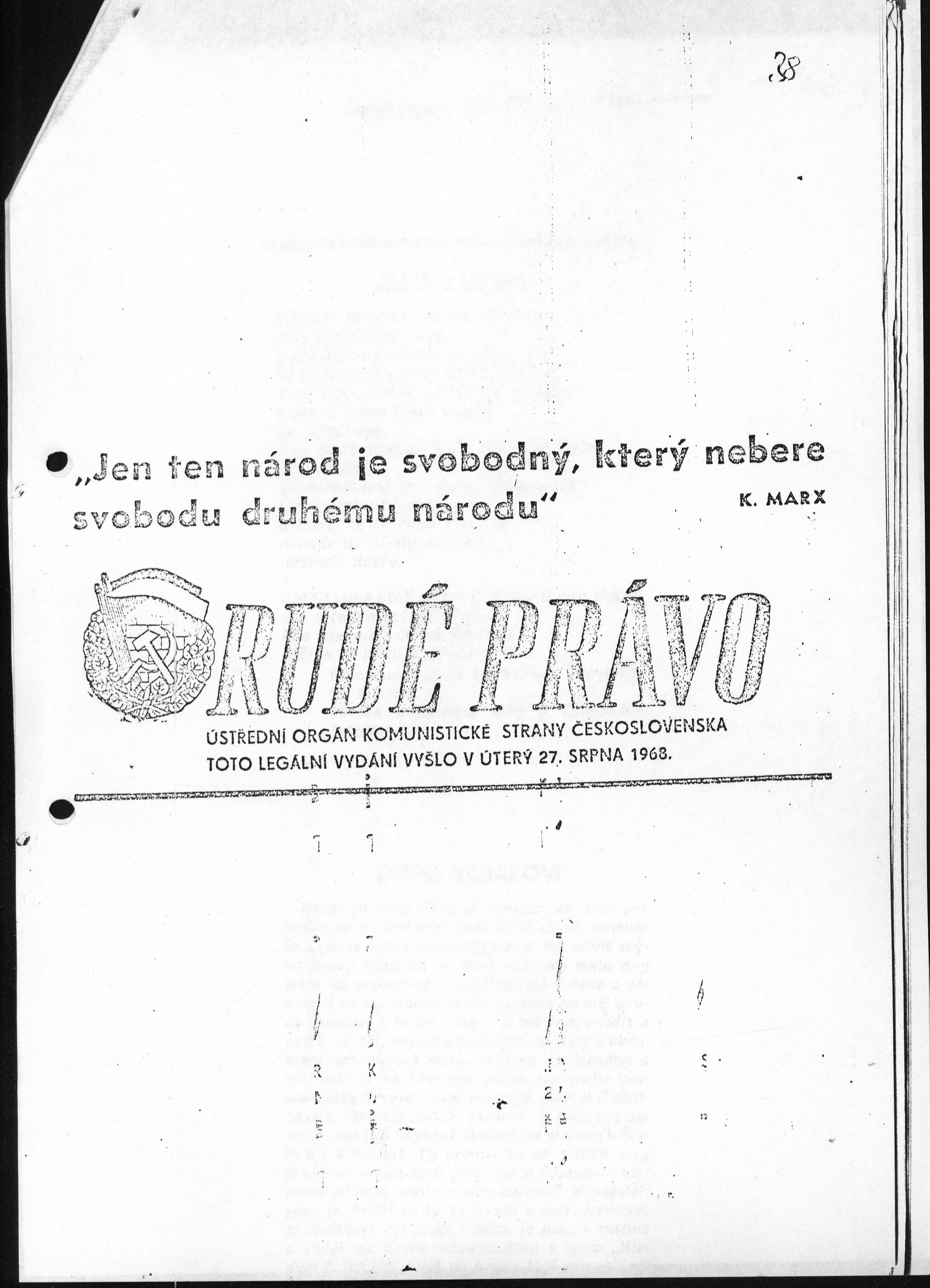 Seifert Gedicht in Rudé Právo 1968