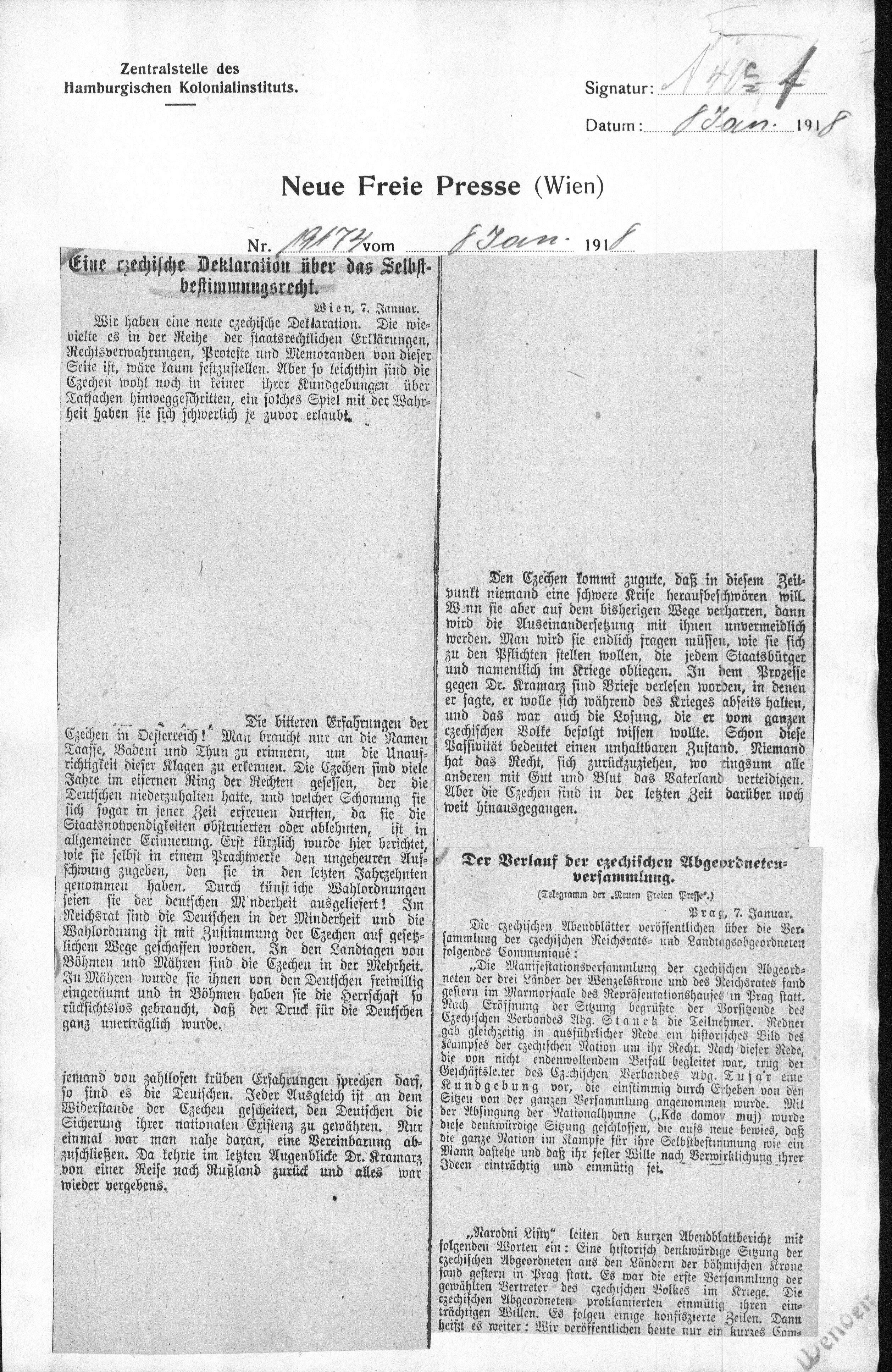 Neue Freie Presse (Wien) zur Staatsgründung 1918