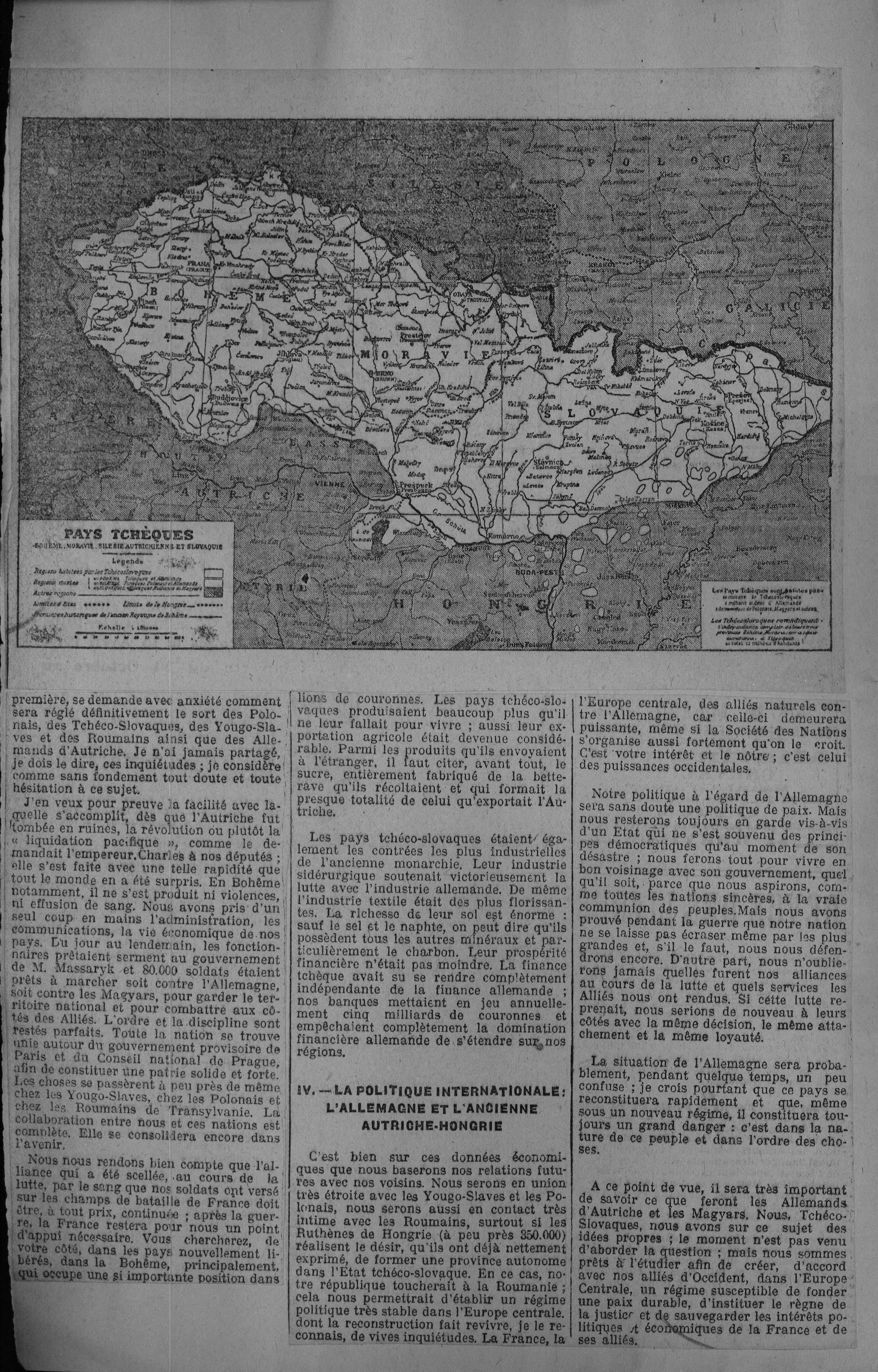 L'Information (Paris) zur Staatsgründung 1918, Seite 2