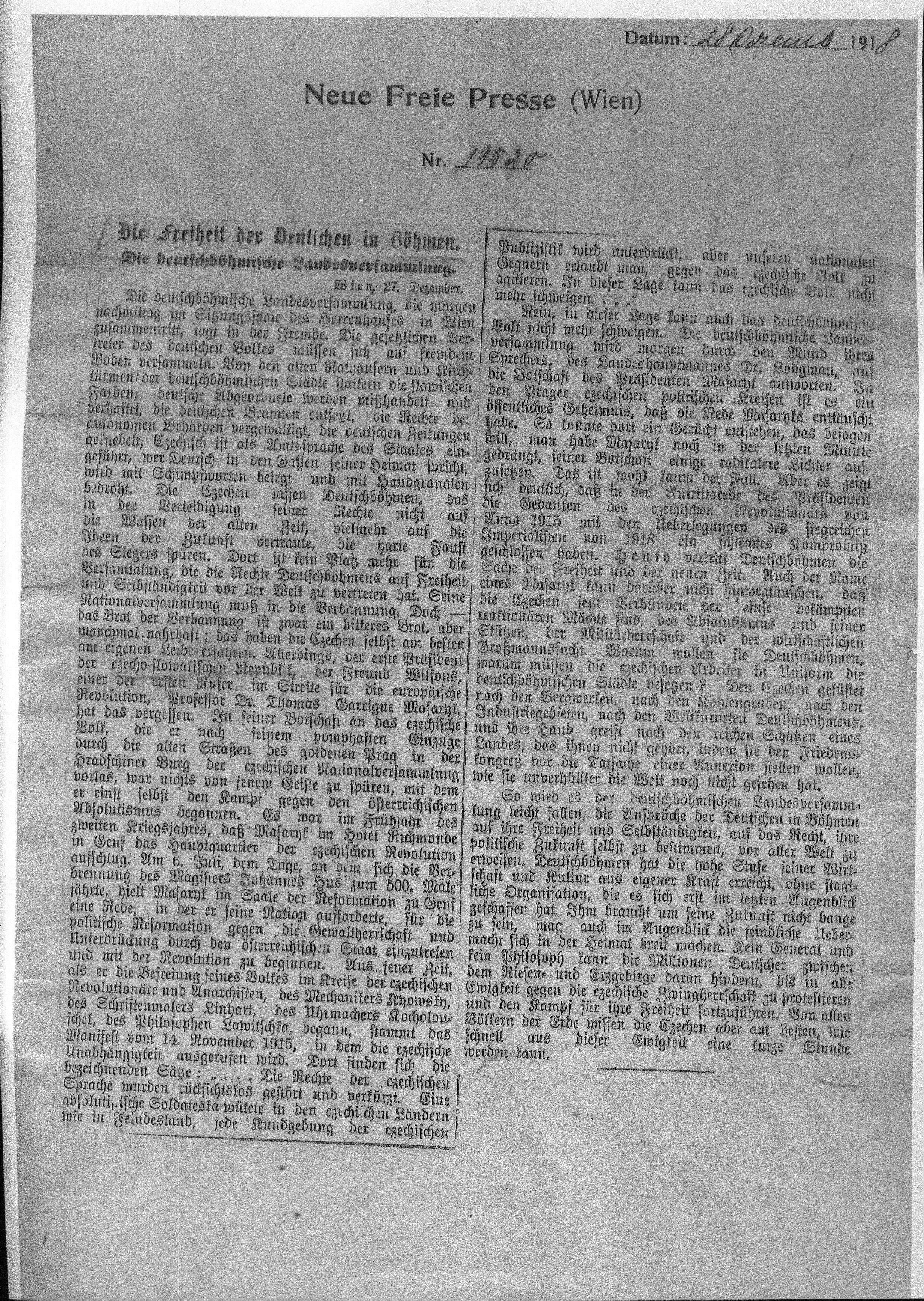 Neue Freie Presse zur Staatsgründung 1918