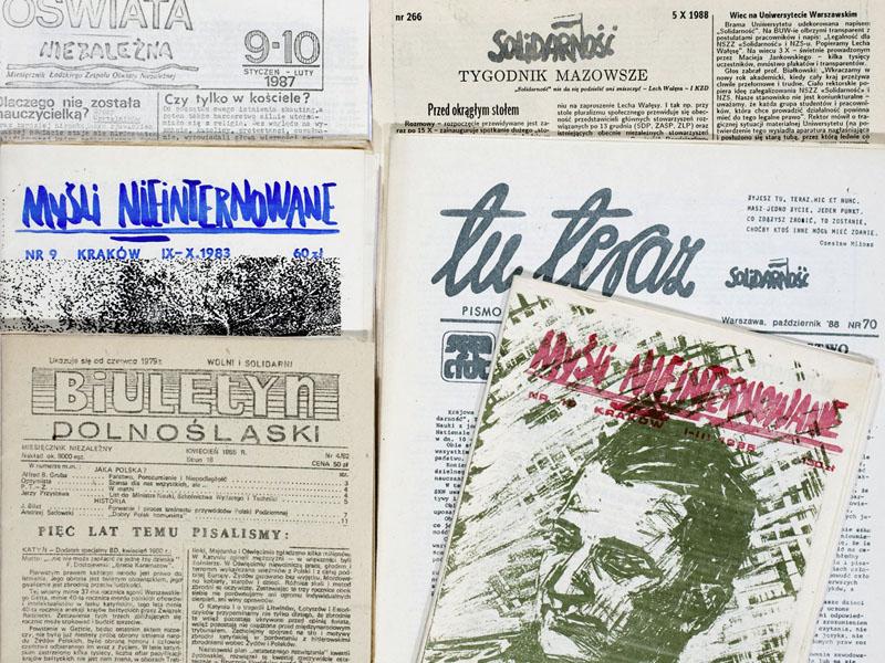 Titelblätter von Samizdat Zeitschriften der Sammlung Urbańczyk