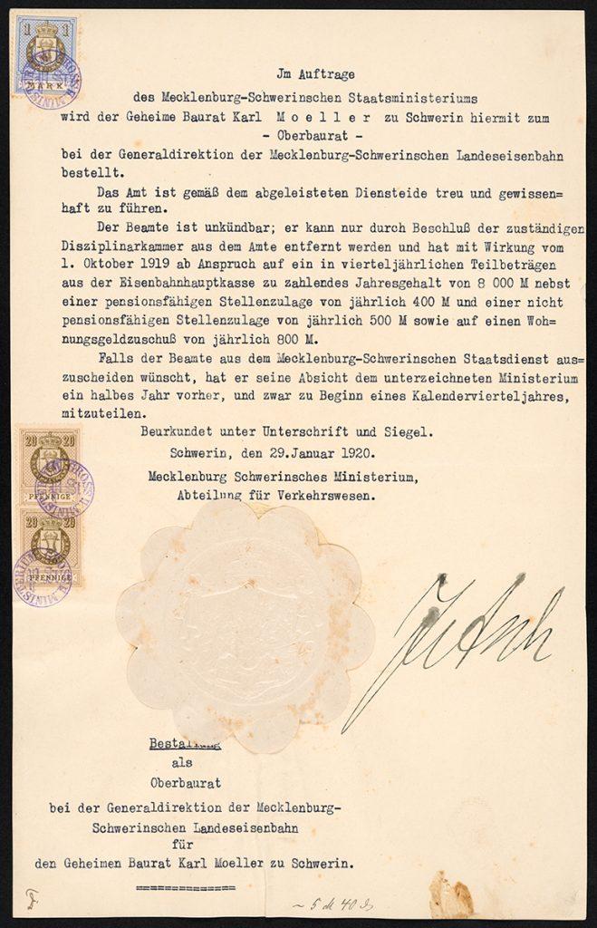 Urkunde für Oberbaurat Karl Moeller zu Schwerin