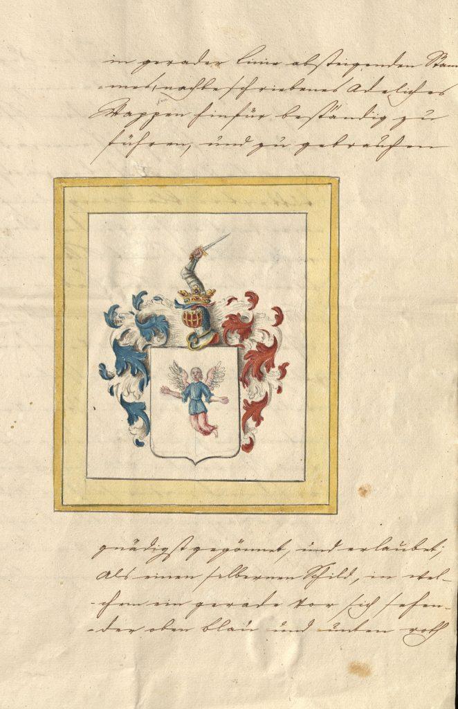 Das Dokument zeigt die Seite der Wappenverleihung des Adelsdiploms für die Familie Nothelffer
