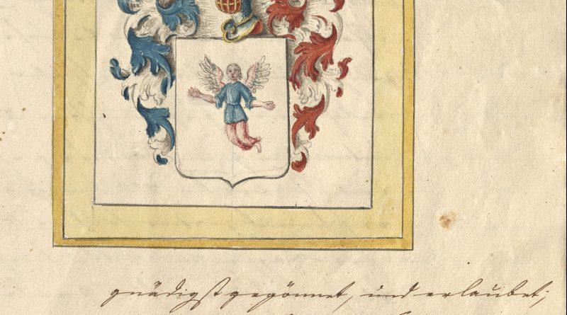 Adelsdiplom für die Familie Nothelffer, Seite mit Wappenverleihung; DSHI_110_Nothelffer/Rautenfeld_20