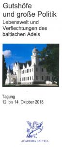 Programm des Seminars über die Geschichte des baltischen Adels