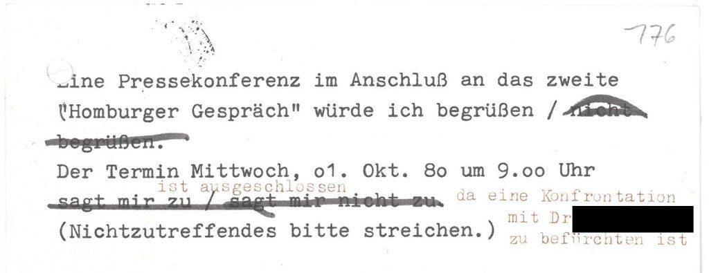 Antwortkärtchen zum 2. Homburger Gespräch, Pressekonferenz