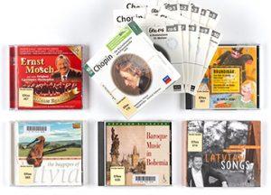 CDs mit Musik von volkstümlich bis klassisch, Foto: Claudia Junghänel, 17.12.2018, Musiksammlung, Inv.-Nr._Collage_CDs, Nutzungsrechte: Herder-Institut, Marburg