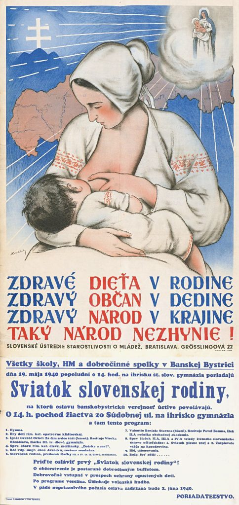 "Poster from 1940: ""A healthy child in a family, a healthy citizen in a village, a healthy nation in a country, such a nation will not perish!"""