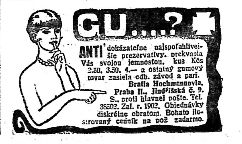 Advertisement of condoms in a newspaper in 1930