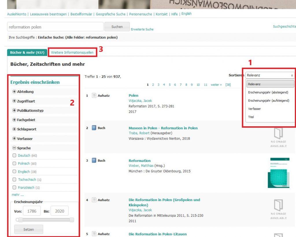 Trefferliste und Filtermöglichkeiten