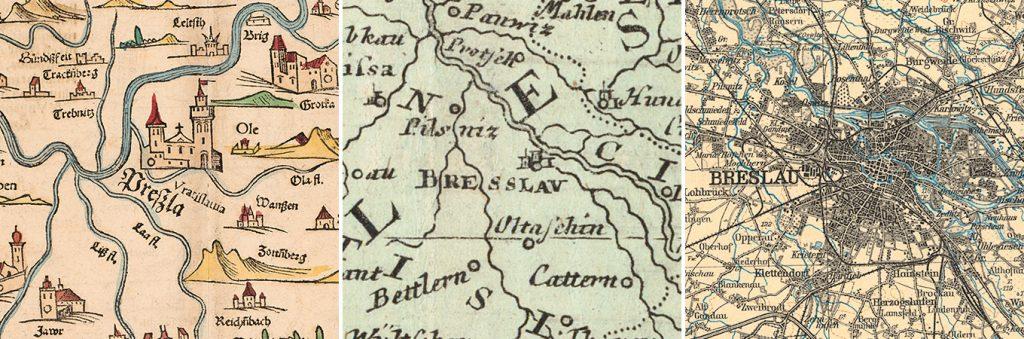 Zeitreihe mit Namensformen von Breslau