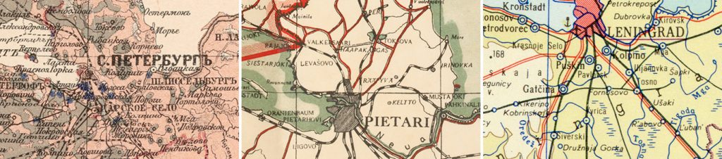 Zeitreihe mit Namensformen von Petersburg